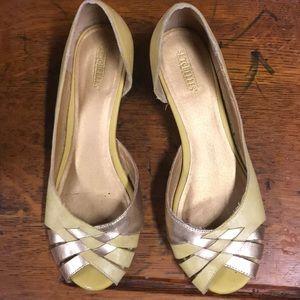 Seychelles Yellow and Gold Wedge Peep toe sandal
